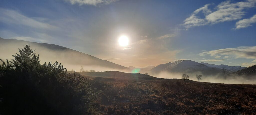 Mist in the heather and mountains